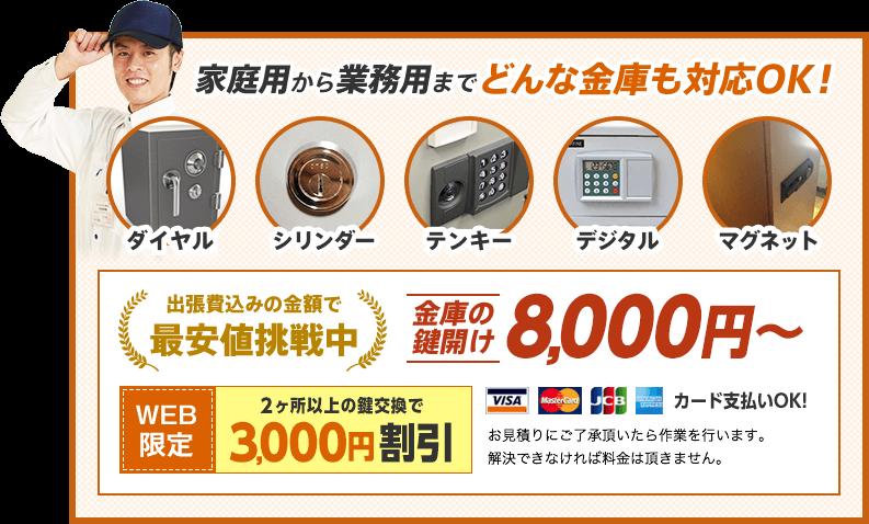 家庭用から業務用までどんな金庫も対応OK!金庫の鍵開け8,000円から。WEB限定割引もあります