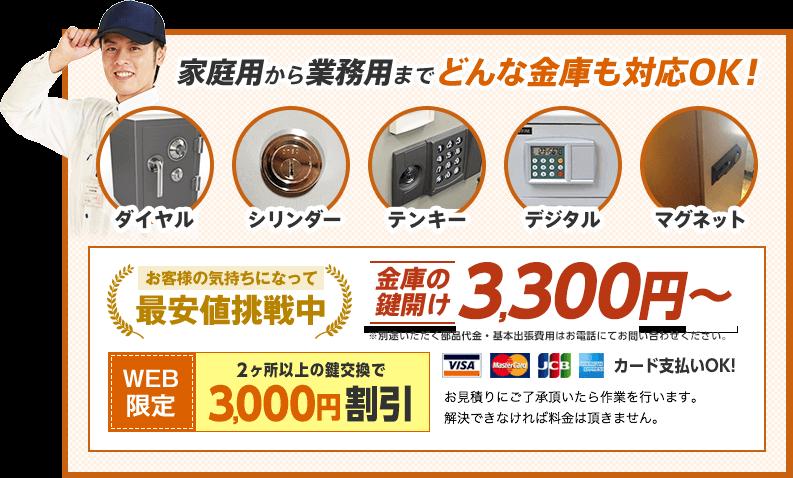 家庭用から業務用までどんな金庫も対応OK!金庫の鍵開け3,300円から。WEB限定割引もあります