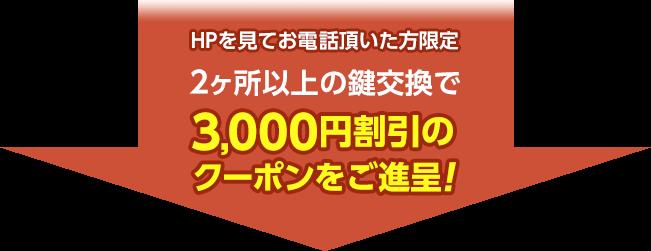 2箇所以上の鍵交換で3,000円割引のクーポンを御進呈します。ホームページを見てお電話頂いた方限定です。